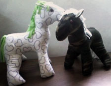Two Horses Made from Shirts